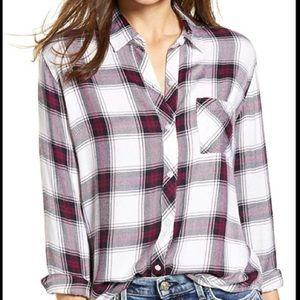 Rails Women Flannel Plum Navy White Rayon Sz Small